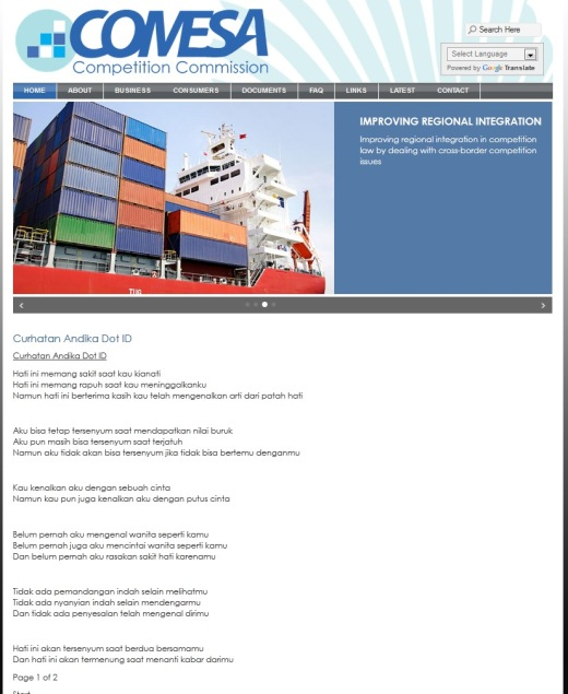 COMESA site hacked with Indonesian love poem